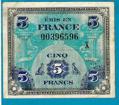 """EXTREMELY RARE REPLACEMENT/STAR France P115 5 Francs ALLIED MILITARY W /""""X"""" 1944"""