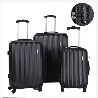 3 Pieces Set Hardside Luggage Travel Carry on Bag Trolley Spinner Suitcase Black