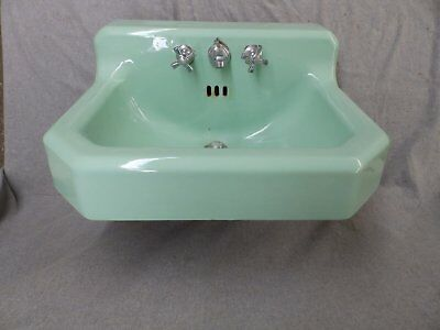 Vtg Standard Jadeite Green Porcelain Cast Iron Shelf Top Bathroom Sink 1659-16