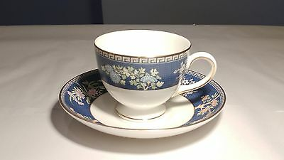 Like New Condition Wedgwood Blue Siam Leigh Shape Cup & Saucer Set (s)