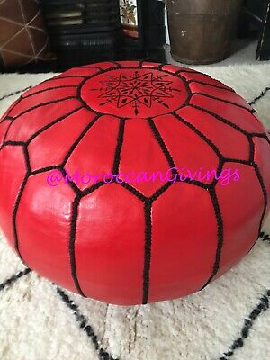 100% Leather Handcrafted Moroccan Pouffe  light Grey