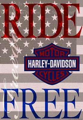 Harley Davidson 12x18 Ride Free Garden Flag  TOTAL CLOSEOUT