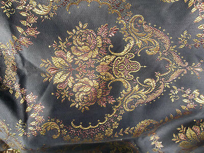 VINTAGE Silk Embroidered Metallic Brocade French Floral table runner (fabric)