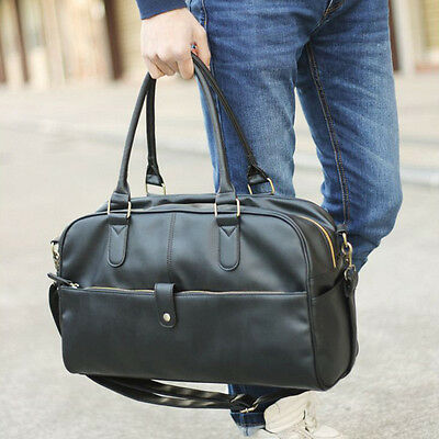 New Mens Leather Duffle/Gym/Travel Bags Handbag Large Shoulder Bag 16""