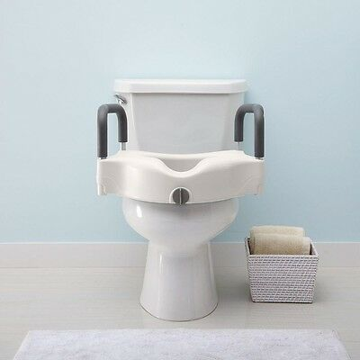 Adjustable Elevated Toilet Seat with 2 Padded Arms Width Adjustable,NEW