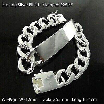 Id Bracelet Bangle Cuff Real 925 Sterling Silver S/f Solid Men's Initial Design