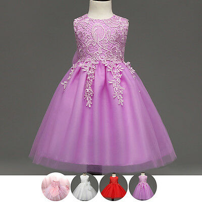Lace Flower Girl Kid Baby Wedding Bridesmaid Tulle Princess Pageant Formal Dress