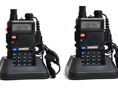 2 Pack Baofeng UV5R Dual Band UHF/VHF Two Way RadioFM 1800mAh w/charger earpiece