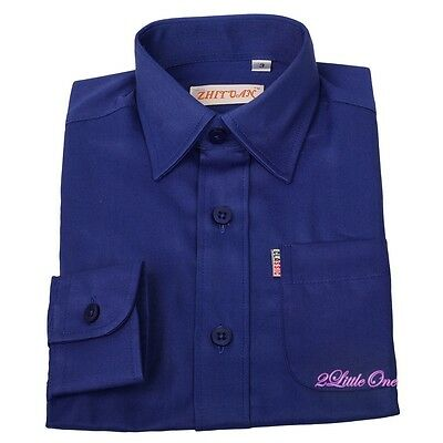 Cotton Polyester Classic Casual Formal Occasion Shirt Suit Blue Boy Size 4 #001