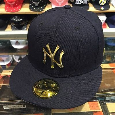 f5f71a0aa4022 NEW ERA NEW York Yankees Fitted Hat Cap NAVY GOLD BADGE -  36.00 ...