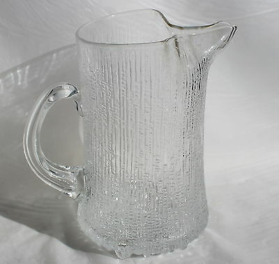 Vintage IITTALA FINLAND Art Glass ULTIMA THULE Water Jug Ice-lip Pitcher