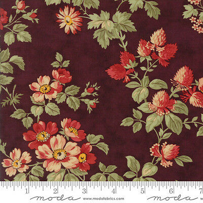 44122 13 MODA Fabric ~ COURTYARD ~ by 3 Sister/'s Bordeaux by 1//2 yd