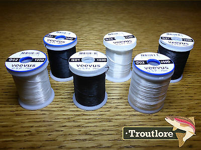 6 x SPOOLS VEEVUS GSP THREAD BLACK & WHITE - NEW FLY TYING SUPPLIES & MATERIALS