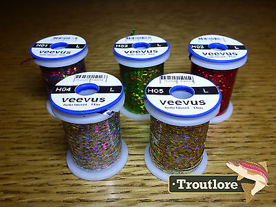 5 x SPOOLS LARGE VEEVUS HOLOGRAPHIC TINSEL THREAD - NEW FLY TYING MATERIALS