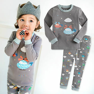 "Vaenait Baby Toddler Kids Boys Girls Clothes Pyjama Set ""Healing Copter"" 12M-7T"