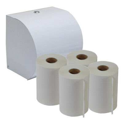 White ABS Plastic Paper Hand Roll Towel Dispenser Starter Pack w/ 4 Roll Towels
