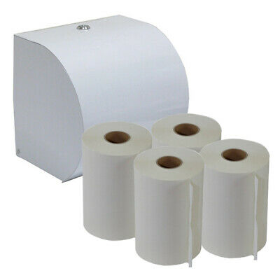 White ABS Plastic Paper Roll Towel Dispenser Starter Pack plus 4 Roll Towels