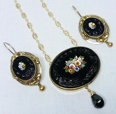 Micro Mosaic Petra Dura Italian Grand Tour Jewelry Set, 14K Gold Filled, Spinel