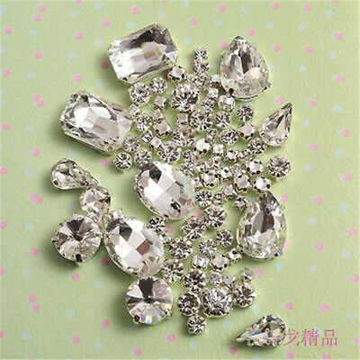62pcs Mixed Size Sew On Glow Rhinestones Clear Color Mixed Shape Glass Crystal