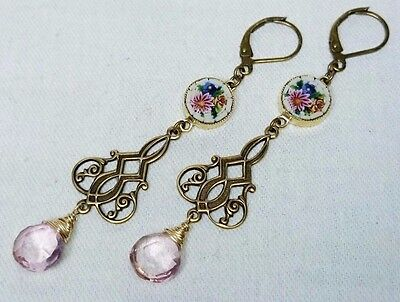 Italian Micro Mosaic Art Deco Earrings with Pink Topaz Drops