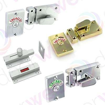 BATHROOM DOOR LOCK Indicator Slide Bolt Toilet WC Security CHROME BRASS SILVER
