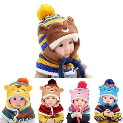 Cute Winter Baby Kids Girls Boys Warm Hats Woolen Coif Hooded Scarf Knitted Caps