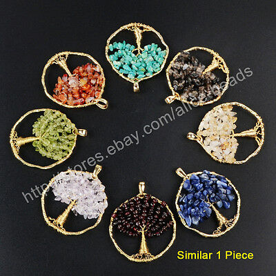 1Pcs Chakra Healing Natural Gems Chips Wire Wrap Tree Of Life Pendant HOT HWX047