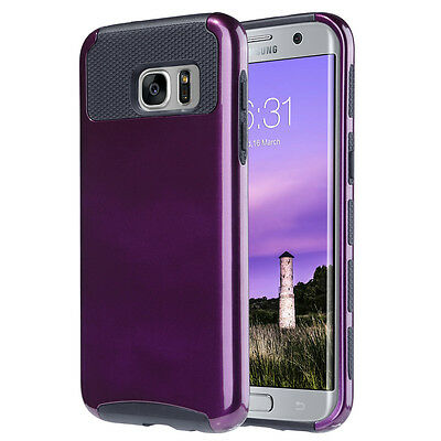 Shockproof Hybrid Rubber Protective Cover Case For Samsung Galaxy S7 edge Purple
