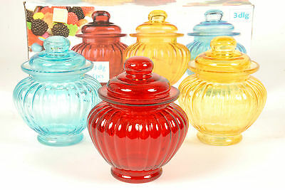 Set of 3 Pretty Coloured Glass Sweet Jars Storage Jars Candy Jars Bathroom Jars