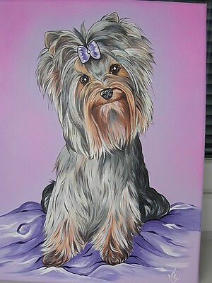 ORIGINAL CUSTOMIZED YORKIE ACRYLICS PAINTING ON CANVAS 12x16