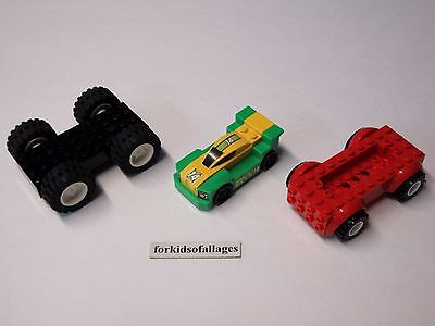 3 Lego Car Bases With Wheels/Tires Lot #8 - Build Your Own Vehicles