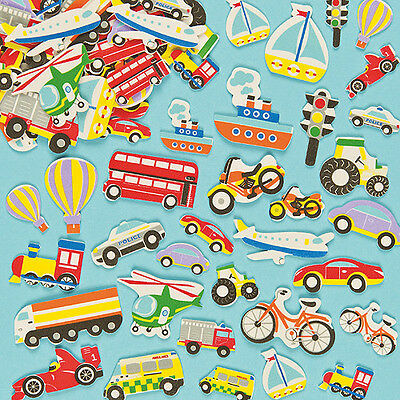 Transport Foam Stickers for Kids to Decorate Crafts & Cards (Pack of 108)
