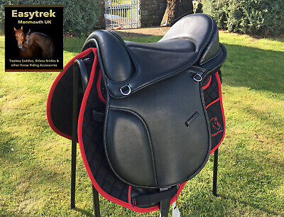 New Easytrek Treeless Dressage brown leather saddle, adjustable narrow-wide fit