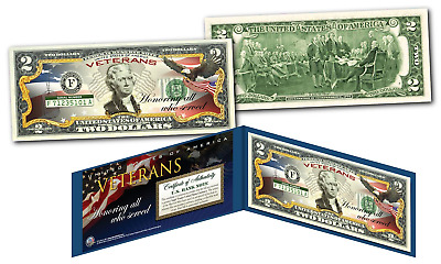 VETERANS US Armed Forces Official Genuine Legal Tender U.S. $2 Bill