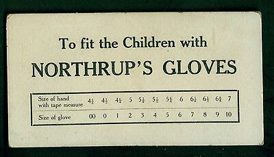 1890's Johnstown,NY Northrup's Gloves Children's Size Card