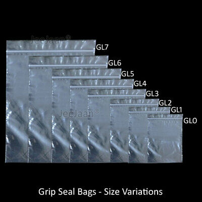 100 x GRIP LOCK SEAL SMALL RE-SEALABLE PLASTIC BAGS COIN JEWELLERY