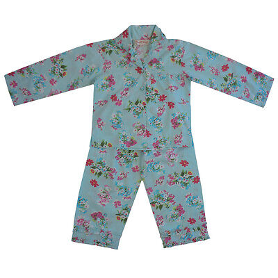 100% Cotton Longsleeve Pyjamas - Blue Floral w/Ruffle Trim - Powell Craft-4-9yrs