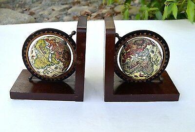 Vintage Earth World Globe Brown Bookends