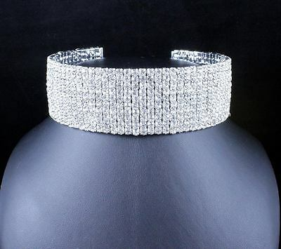10-Row Clear Austrian Crystal Rhinestone Choker Necklace Silver Party Wed N088