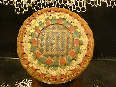 Woven Antique Vintage Sewing Basket Hand Painted Oriental Trinket Box Lidded