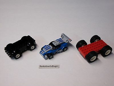 3 Lego Car Bases With Wheels/Tires Lot #9 - Build Your Own Vehicles