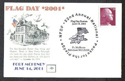 US 2001 FLAG DAY PAUSE FOR THE PLEDGE FORT McHENRY POSTAL CARD