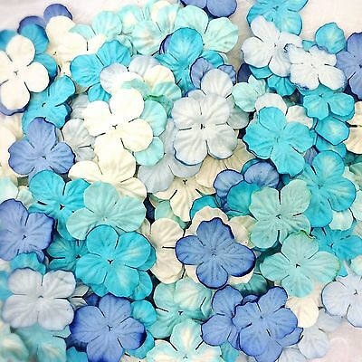 100 Mixed Bule Tone & White Hydrangea Flowers mulberry paper for Craft & D.I.Y