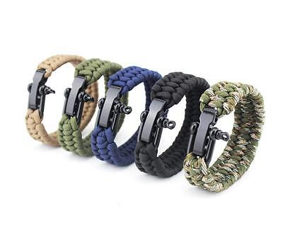 Survival Rope Paracord Bracelet Outdoor Camping Hiking Steel Shackle Buckle hot