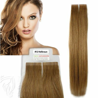 Tape In / On 100% Echthaar Remy Hair Extensions Haarverlängerung 2,5g Tresse #12