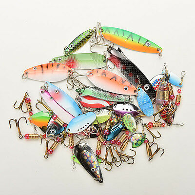 30 Metal Mixed Spinners Fishing Lures Pike Salmon Baits Bass Trout Fish Hook EW