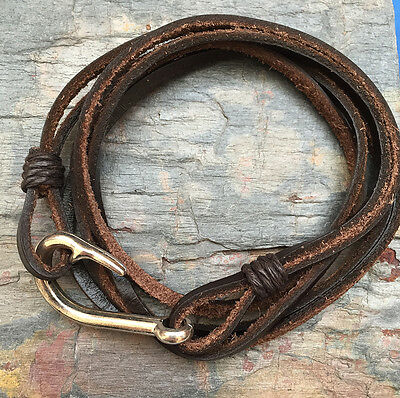 Real Brown Leather Wrap Wristband Bracelet Fish Hook Clasp Unisex Surfer Gift