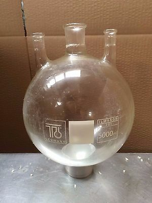 TGI Ilmabor 5 litre capacity round bottom glass flask with 3 necks