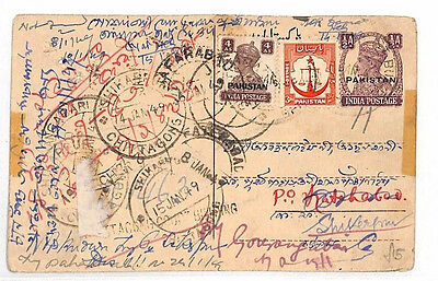 AM59 1950 PAKISTAN Multi-Redirected INDIA KGVI Postcard Unusual Franking