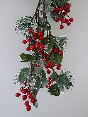 SALE 1m Artificial Red Berry Green Leaf Snow Garland Indoor Christmas Decoration